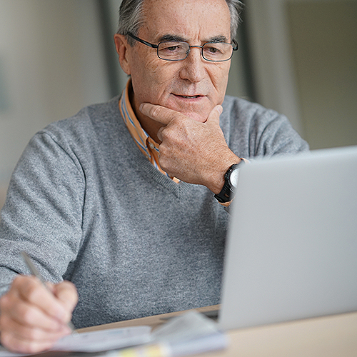 Blue Ridge patient using Patient Portal on the computer