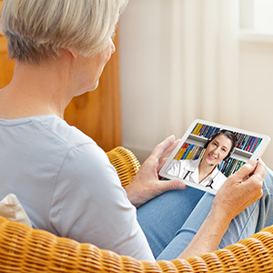 Blue Ridge patient talking to a doctor via TeleHealth